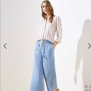 LOFT Cotton Linen Drawstring Wide Leg Pant